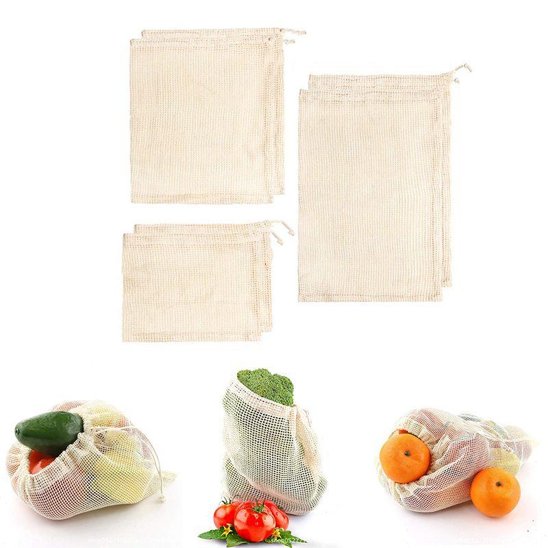 1PC reutilizables bolsas de la compra reutilizables bolsa de verduras malla de algodón Bolsa ECO producir bolsas de fruta de la cocina Verduras bolsas de cordón