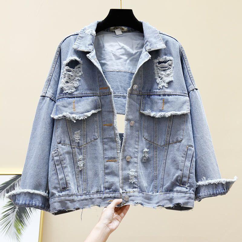Chaqueta de mezclilla para mujer 2019 Otoño Denim Azul Abrigos básicos sueltos Manga larga Agujeros casuales Jeans Chaquetas Prendas de abrigo Gran tamaño R963