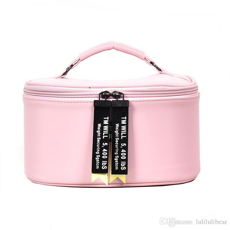 حار بيع الكورية أزياء المرأة لطيف جولة الجلود حالات التجميل المهنية حقيبة ماكياج التجميل حقيبة تخزين حقيبة محمولة
