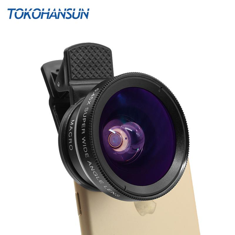 TOKOHANSUN New HD 37MM 0.45x Super Wide Angle Lens with 12.5x Super Macro Lens for iPhone 6 7 8 Plus Samsung S9 Camera lens Kit