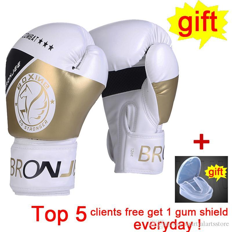 American UFC training gold boxing gloves fighting Championship printed boxing gear handmade synthetic leather fight glove combat boks gear