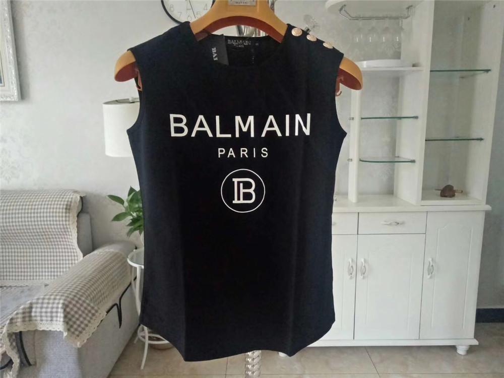 Balmain Mulheres Roupa de alças Balmain das mulheres do estilista camiseta de manga curta das mulheres do estilista roupa tamanho S-L