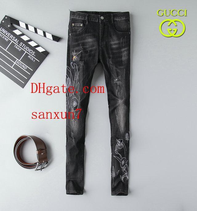 pantaloni da uomo Distressed Strappato Skinny Jeans Moda Jeans Uomo Slim Moto Moto Motociclista causale denim dei pantaloni di Hip Hop jeans da uomo vestiti NZ-77