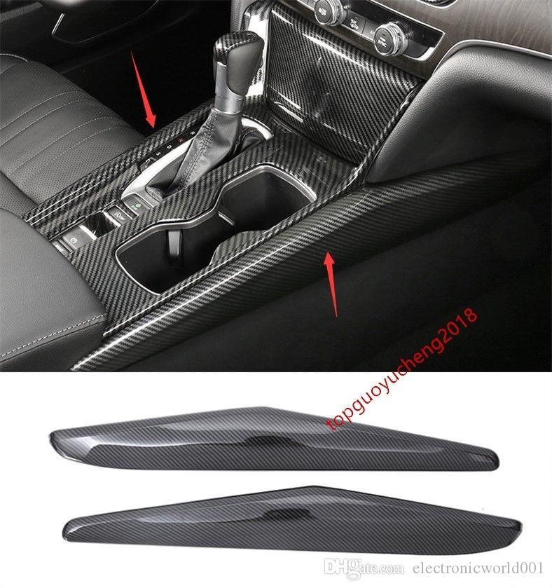 Para Honda Accord 2018 de fibra de carbono interior del cambio de engranaje Panel de ajuste de la cubierta de la raya de 2 piezas