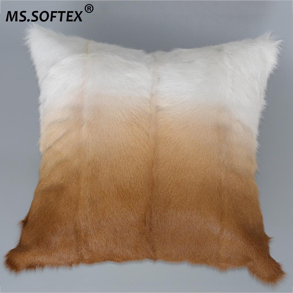 MS.Softex Doğal Keçi Kürk Yastık Kılıfı Gerçek Kid Cilt Kürk Yastık Kapak Kuzu Kürk Evler Kapak Lüks Yastık