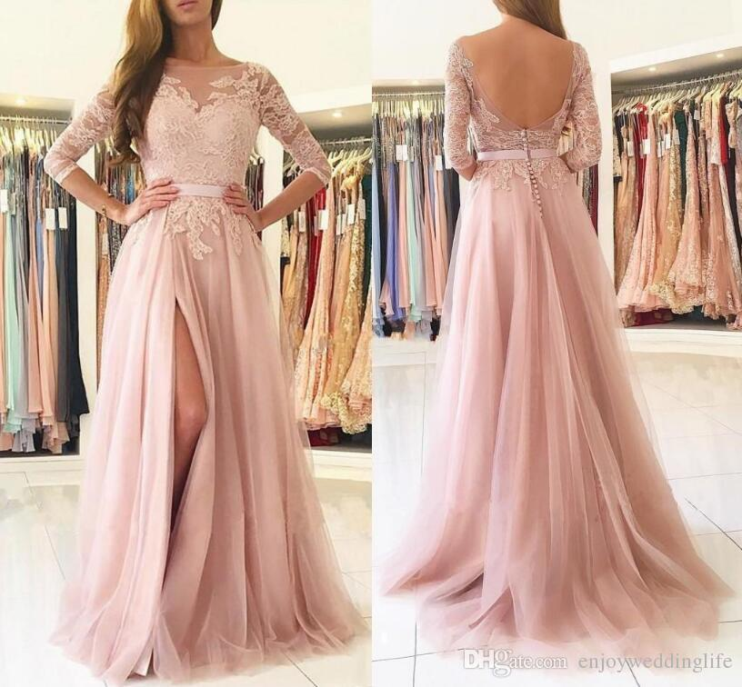 Elegant Light Pink Prom Dresses 2019 Sheer Neck Half Long Sleeves Lace Appliqued Bridesmaid Dress High Split Formal Party Evening Dress