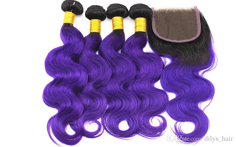 4x4 머리 폐쇄 무료 파 컬러 1B / 보라색 10-18inch와 페루 처녀 인간의 머리 번들 브라질 바디 웨이브 머리 확장