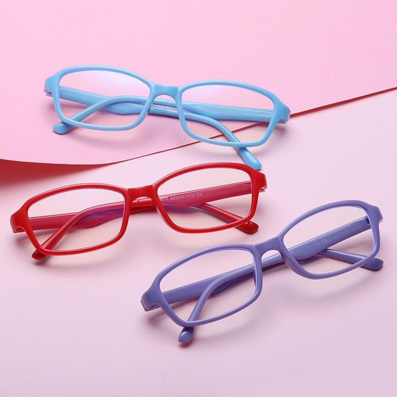 Gözlük Çocuk Boy Kız TR90 Bilgisayar Oyun Gözlük Karşıtı Gerginlik UV400 Koruma Engelleme Simvey Çocuk Mavi Işık