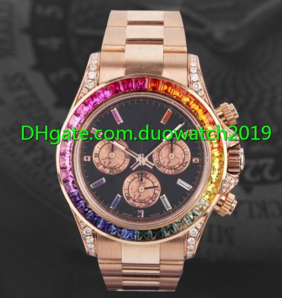 Nueva calidad superior de 40 mm para hombre Relojes 116595 RBOW Rainbow No Cronógrafo Diamante Bisel Dial Negro Oro rosa banda movimiento automático mecánico
