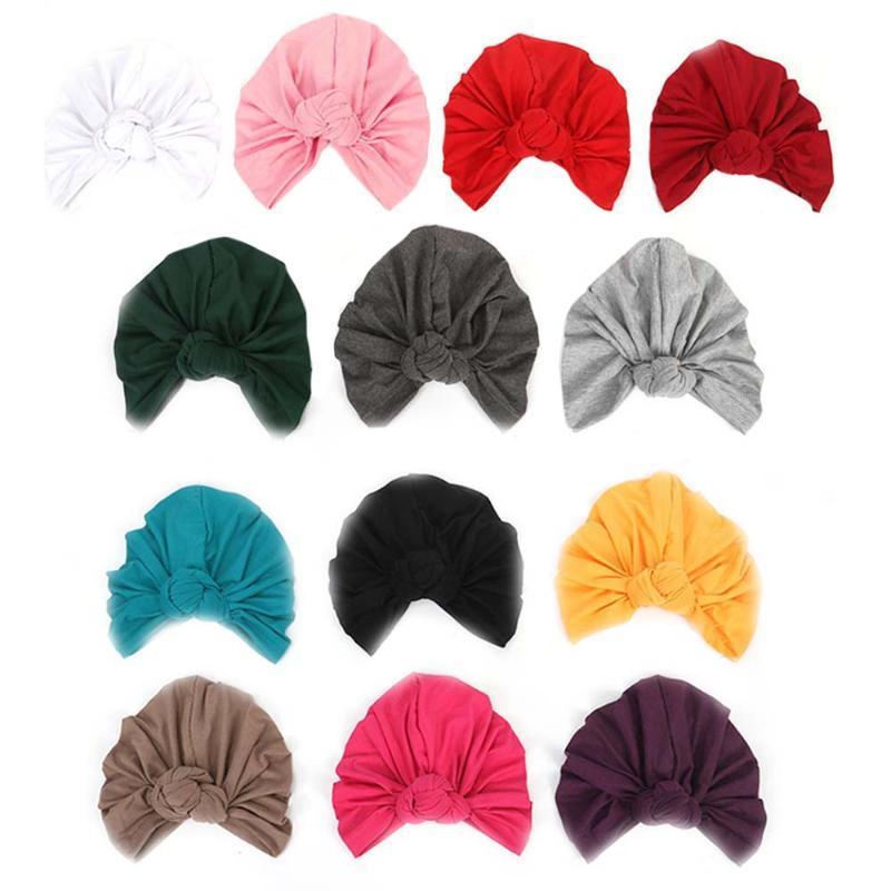 Las mujeres pañuelos anudados turbante del casquillo del centro de la Cruz de pelo Bufandas de Boho de color multi-Caps del pañuelo musulmán sombrero caliente del turbante