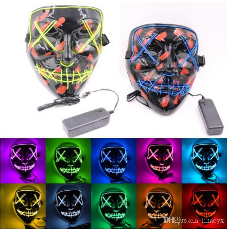 Halloween Maske LED Leuchten Lustige Masken Die Purge Wahljahr Große Festival Cosplay Kostümzubehör Party Maske
