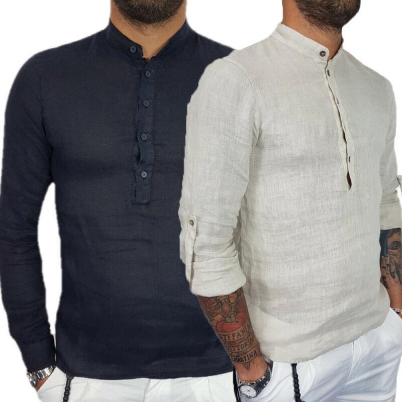 2019 Bouton Mode Tendance Hommes manches longues Hauts Baggy Hippie Casual T-shirts loose automne pré-automne Nouveau doux simple Slim T-shirts