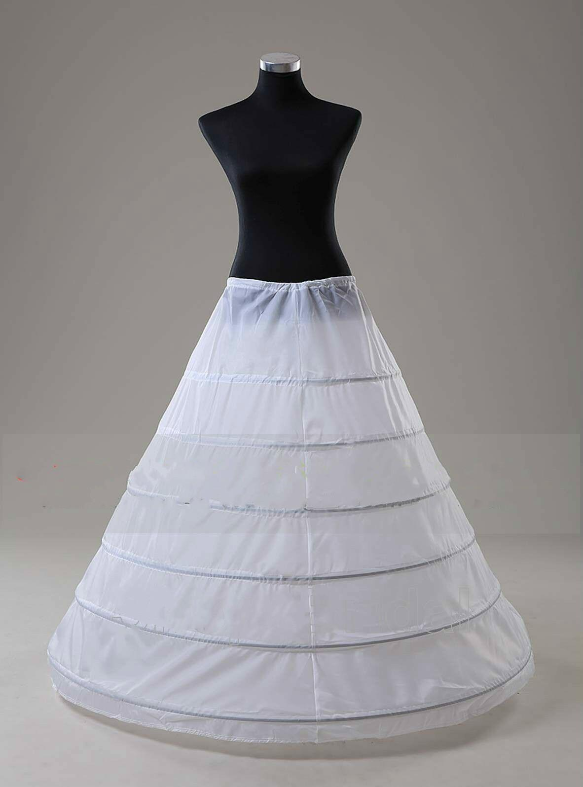 White 6 HOOP A Line Bridal Ball Gown Dress Silps Crinoline Petticoat Underskirt