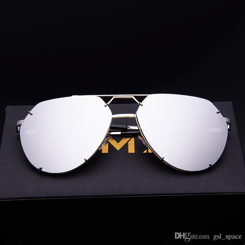 2019 Güneş Kadınlar / Erkekler Lüks Kedi Göz Marka Tasarım Ayna Yeni Altın Vintage Cateye Moda Güneş gözlükleri Lady Gözlük