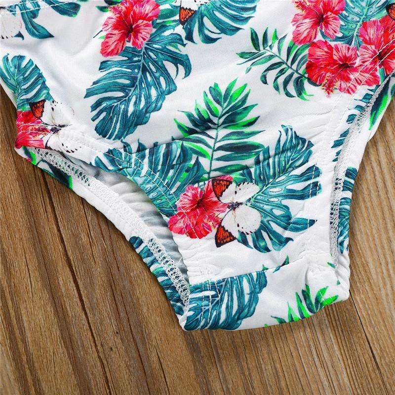 Enfants Bébés filles 2PCS Maillots de bain Costume Natation Imprimer Taille haute Beachwear Maillots de bain pour enfants