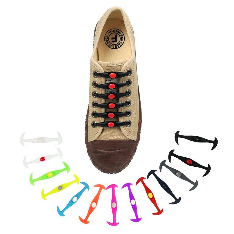 10 مجموعات سيليكون مرونة أربطة الحذاء الإبداعية الأحذية كسول الأربطة الرجال والنساء خاصة لا التعادل رباط الحذاء