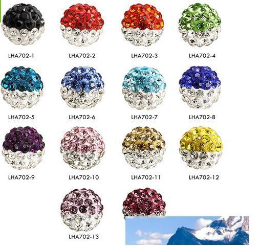 10MM DIY Clay Crystal Beads Pave Rhinestone Disco Balls Beads Fit For Necklace Bracelet color u choose