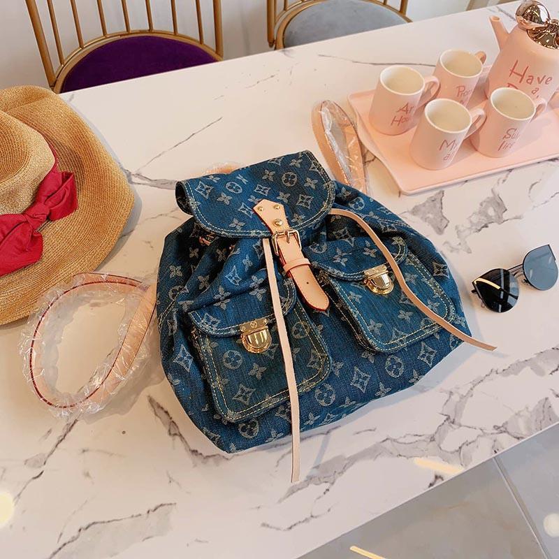 2019 Original luxury famous denim 28*30cm quality designer bags backpack handbag lady Backpacks Laptop Sac à main women girl unisex 052707
