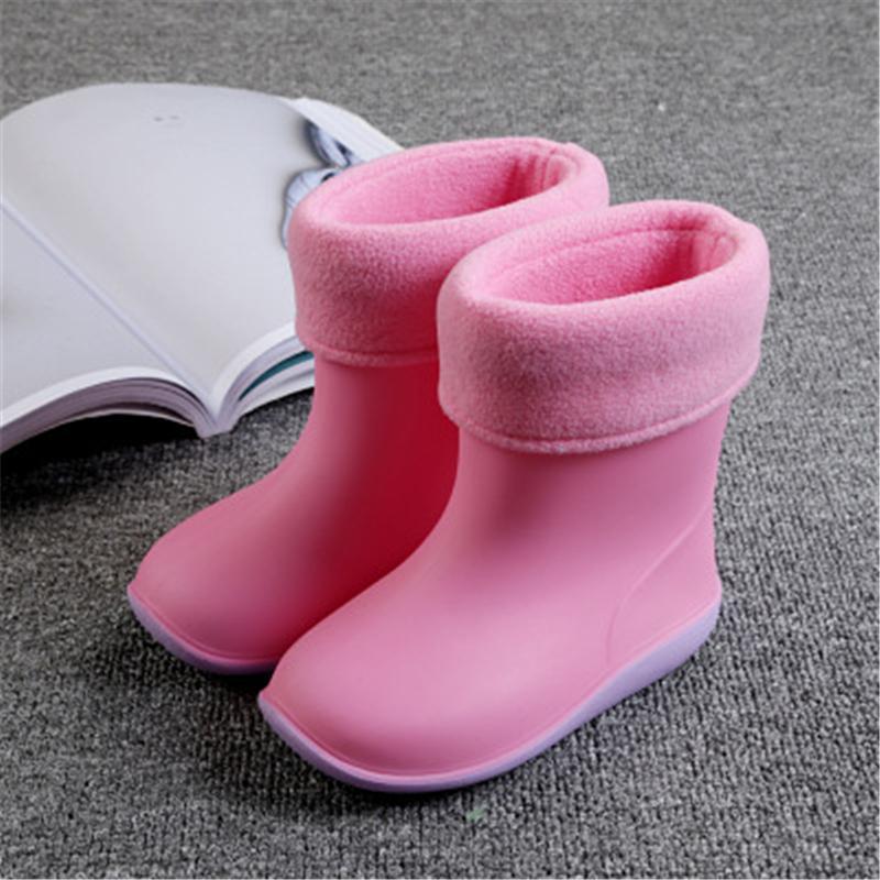 Kinder Rain Pvc Wasserdichte Kinder Kleinkind Schuhe Candy Farbe Rutschfeste Wasserschuhe Jungen Mädchen Baby Gummistiefel 020 MX190727