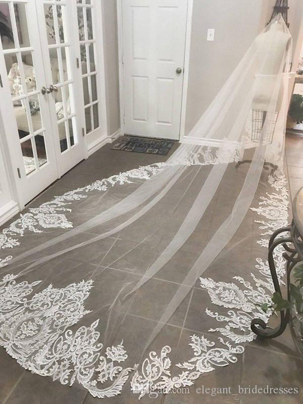 2019 Büyüleyici Katedrali Uzun Dantel Düğün Veils Yeni Bir Katmanlı Yumuşak Tül Düğün Aksesuarları Gelin Peçe