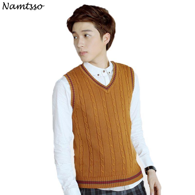 100% algodão Vest Men 2019 Outono Inverno New Classic V-neck mangas da camisola Cotton Malha Pull Homens de base Marca SH190928 Roupa topo