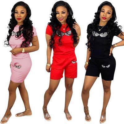 Mode Femmes Imprimer Survêtements Casual Deux Pièces Ensemble Plus La Taille Haut À Manches Courtes Et Pantalons Femmes Survêtements Sport Outfit Streetwear S-3XL