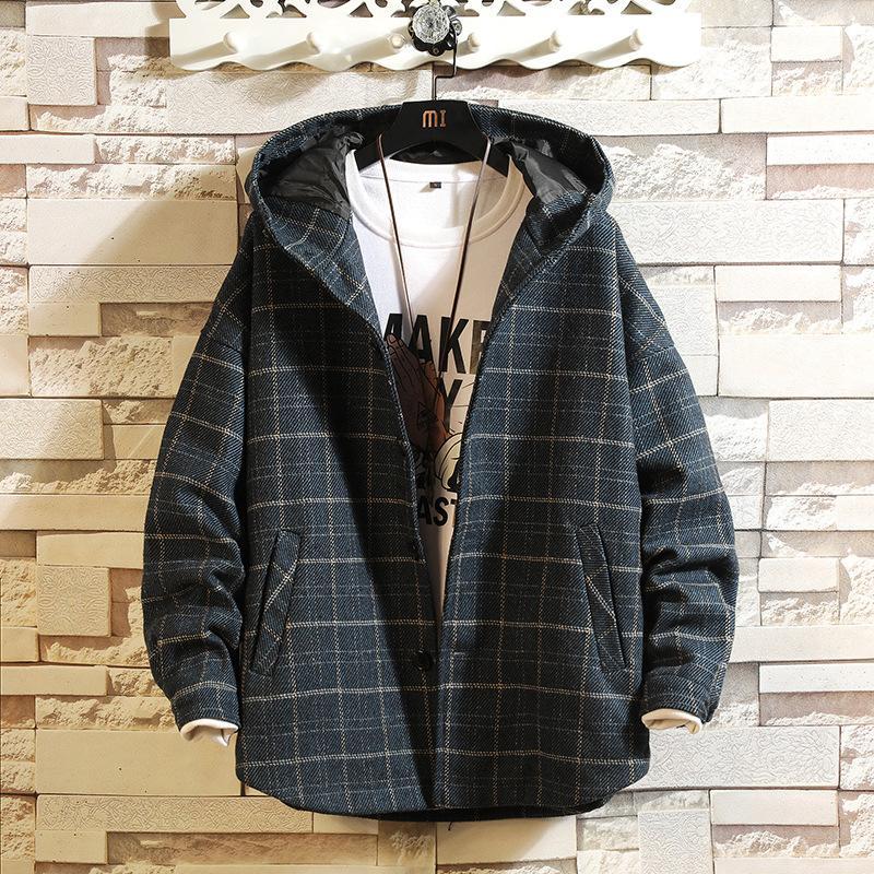 19 Sonbahar Ve Kış Yeni Stil Kapşonlu Ekose Casual Kalın Yün Ceket Kore tarzı Gevşek Retro Moda Büyük Beden Ceket