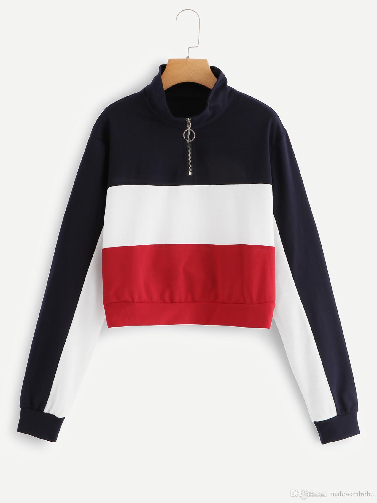 Donne Patchwork Zip Up Felpa Crop Tops Turn-Giù colletto a maniche lunghe Streetwear autunno femminile Felpe Casual
