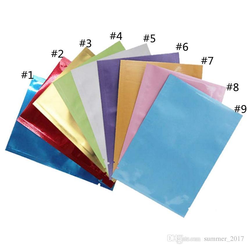 1000 pcs colorido folha de Alumínio saco de Folha de Alumínio Mylar Saco Da Folha de Cheiro À Prova de Pouch open Top Sacos De Embalagem de Chá de Café Amostra Cosmética
