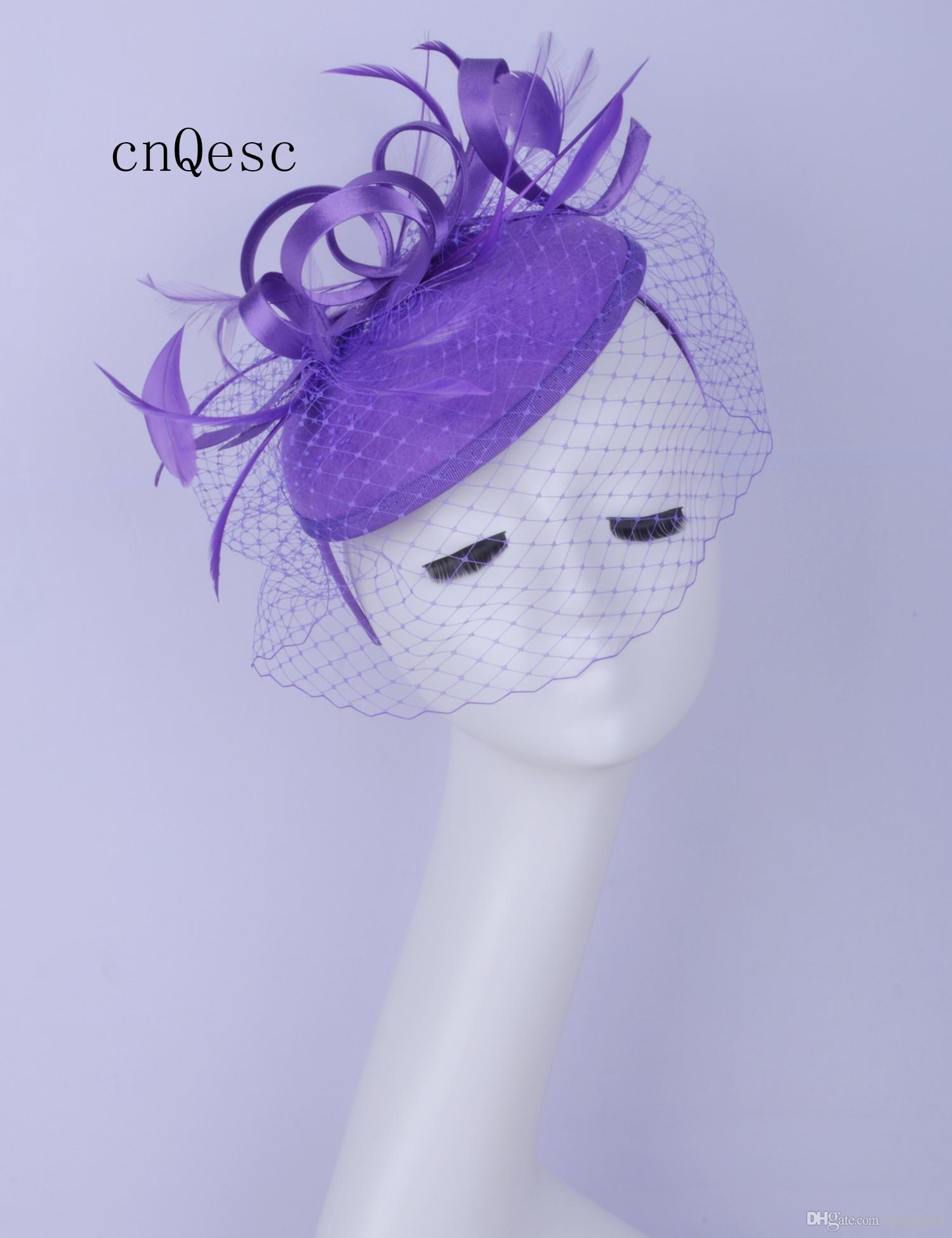 2019 Abito da cerimonia formale da donna viola cappello in feltro di lana Kentucky Derby gare di nozze doccia nuziale madre della sposa con piuma