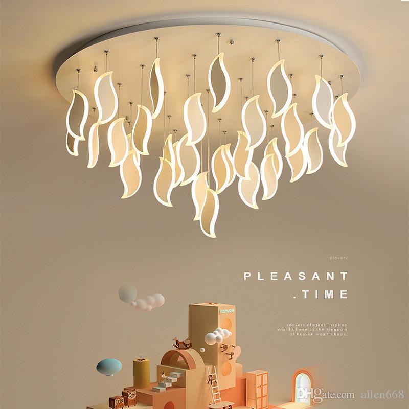 Soffitto moderna Luci LED acrilico Foglie Camera Nordic Light Lampada da soffitto per soggiorno Kitchen Cafe Bar lampadari