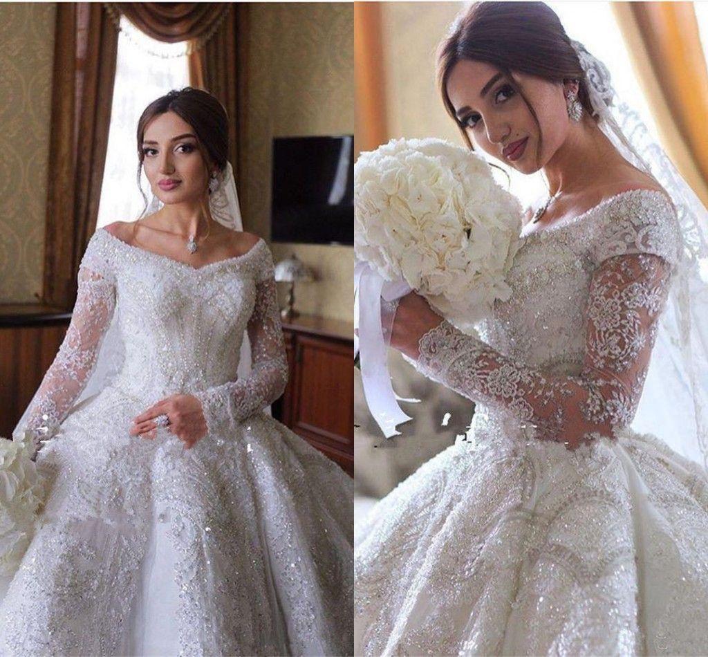 Sparkly cristal frisado Bola Vestidos Vestido de casamento de luxo Alças Appliqued Plus Size Arábia árabe Dubai Vestido de Noiva vestidos de novia
