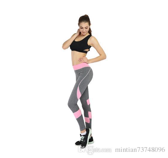 Pantaloni sportivi da donna europei e americani pantaloni sportivi yoga patchwork rosa e bianchi pantaloni a matita leggings