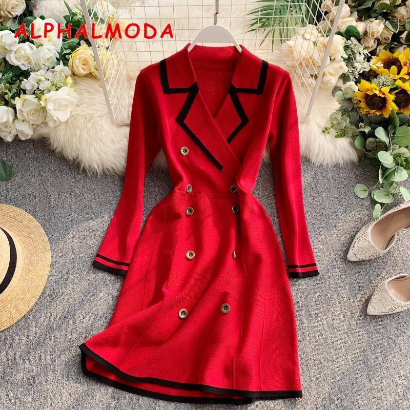 ALPHALMODA Retro Autumn Dress 2019 New Lapel Collar Long-sleeved Dress Double-row Button-down Slim OL Casual Knit Dress