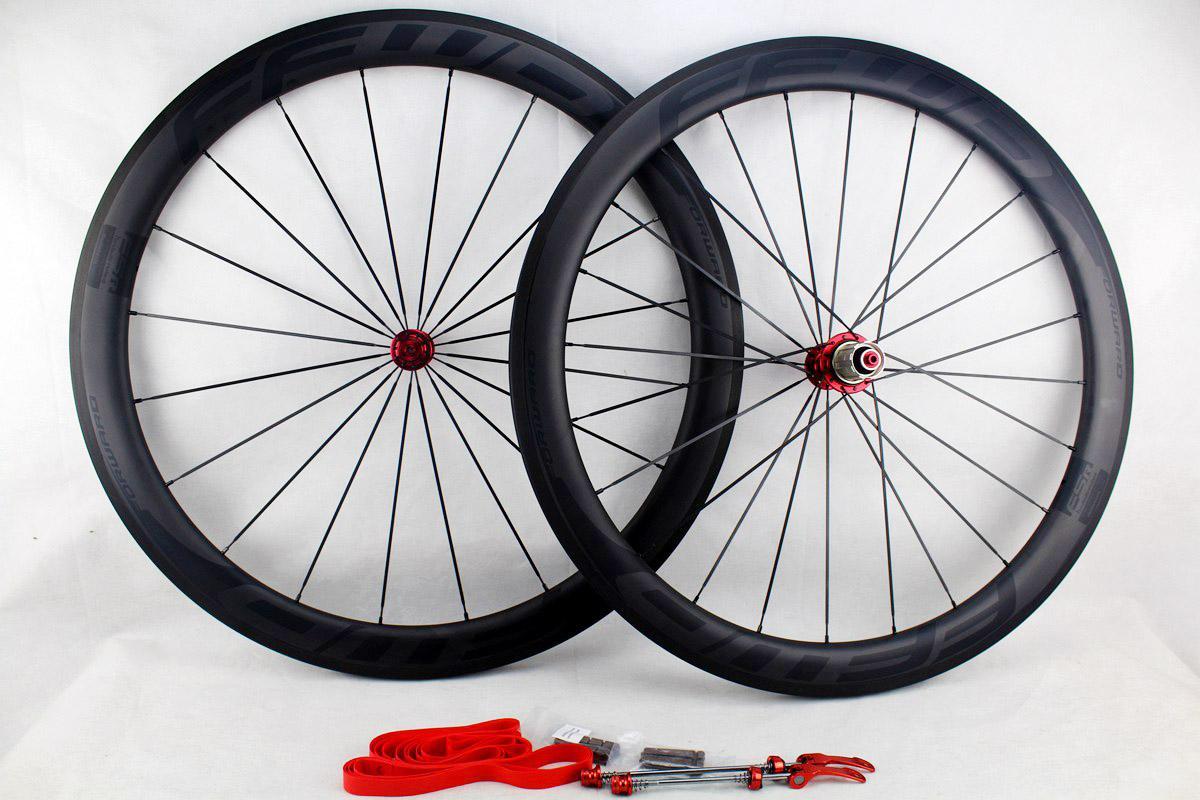 탄소 도로 자전거 바퀴는 바퀴 50mm 25mm 현무암 브레이크 표면 폭 Powerway 허브와 BOB 클린 관형도 자전거 700C를 FFWD