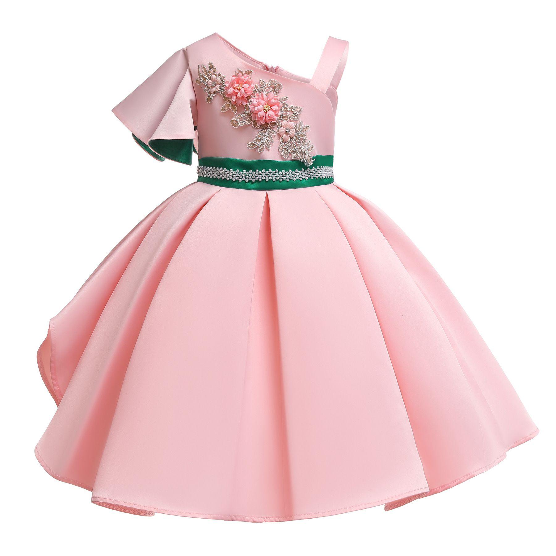 小売少女刺繍ドレスワンショルダービーズの花の女の子のドレス赤ちゃん子供高級デザイナーパーティープリンセスウェディングドレスブティック