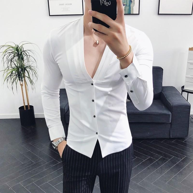 Deep Sexy Collarless 2018 New Autumn Long Sleeve Slim Fit V Neck Pleating Solid Dress Shirt Camisa Masculina wine red MX200518