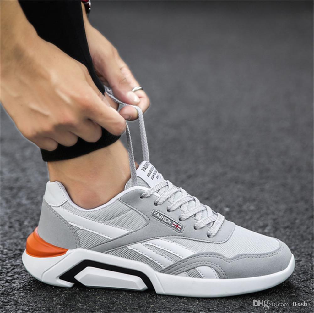exteriores resistentes ao desgaste respirável calçados esportivos casuais atacado 2019 dos homens de alta qualidade leve e versátil sapatos com Box