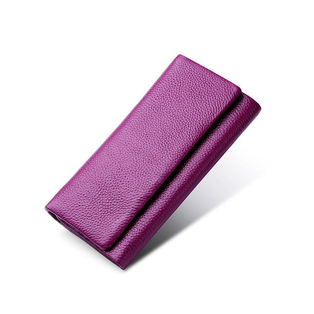 Unisex Vera Pelle lungo frizione Portafogli risvolto portamonete Plain Handphone tasca del raccoglitore della carta casual interna della chiusura lampo tasca banconote Pouch
