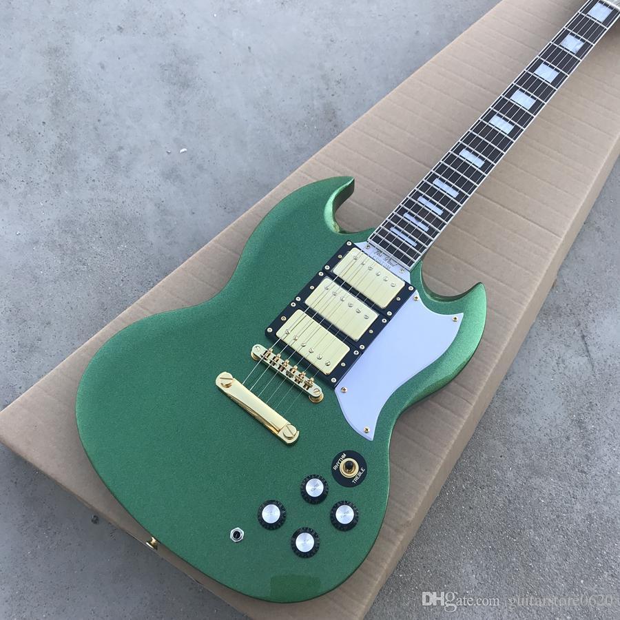 Custom Shop Green SG 3 Pickups Chitarra elettrica Nuovo arrivo Chitarre all'ingrosso spedizione gratuita chitarra personalizzata