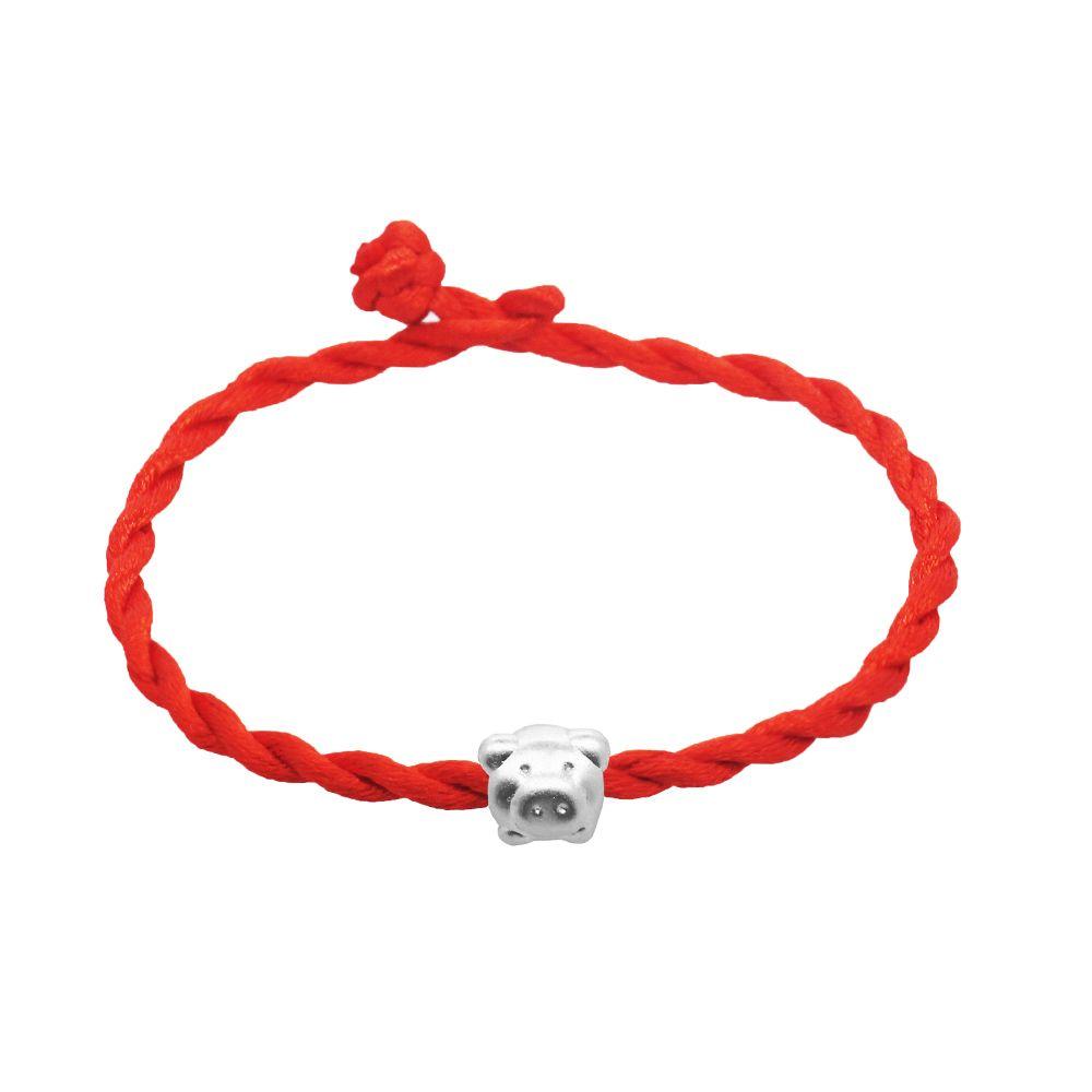 Ручной красный бенминниан веревка 925 серебряная свинья браслет женская мода DIY серебряные украшения