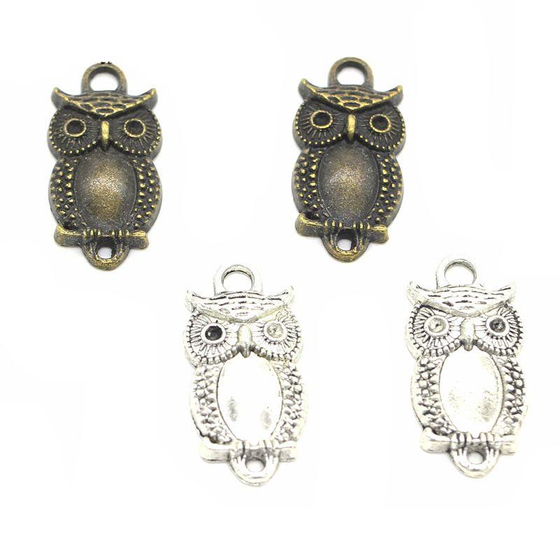 15pcs Charme-Eulen 27x13mm Antik Silber Bronze Schmucksachen, den Charme passender Ohrring Halsketten-Armband Kunst