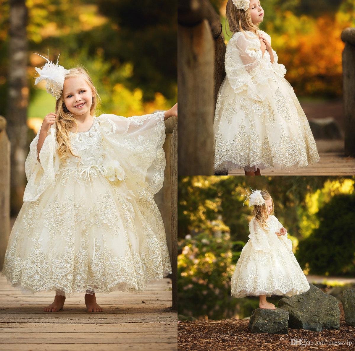 2019 Vestidos de niña linda con flores Cuello de joya Mangas largas de campana Una línea Longitud del tobillo Niñas Vestidos de fiesta de cumpleaños personalizados Encaje Niños Ropa formal