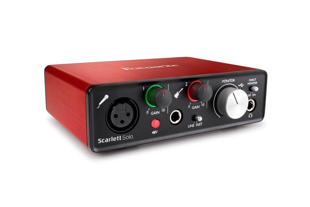 Nuova versione Focusrite Scarlett Solo (2nd gen) Scheda audio con interfaccia audio USB 2 input 2 output per registrazione Microphone Guitar