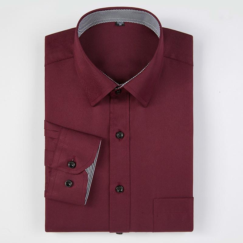Высокое качество Мужчины Рубашка с длинным рукавом Twill Solid Formal Бизнес Кнопка вниз рубашки Марка Slim Fit Man рубашки платья Мужская одежда