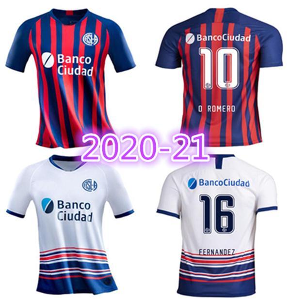 Yeni 2020 San Lorenzo Futbol Forması 20/21 San Lorenzo Ev # 16 Bellusch Futbol Gömlek # 9 Blandi Cerutti Özelleştirilmiş Futbol Üniforması