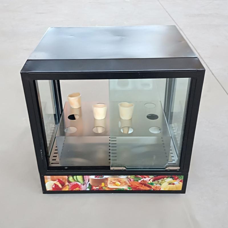 ailes boîte en verre isolant carré commercial à double affichage écran aliments cuits armoire porte électrique hamburger poulet jambe chauffage oeuf tarte