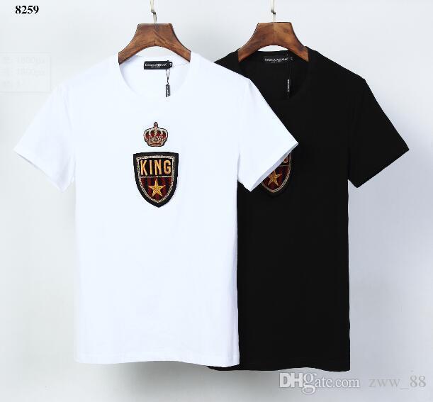 2020 Sommer Italien Luxus Krone KING Druck London T-Qualitäts-T-Shirt Männer-Frauen-Kleidung Baumwollbeiläufiges-T-Shirt