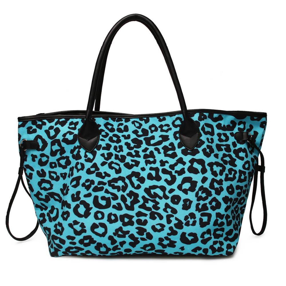 fanshion designer Blue Leopard Purse Wholesale Blanks Canvas Turquoise Leopard Handbag Women Cheetah Endless String Travel Bag DOM1061249
