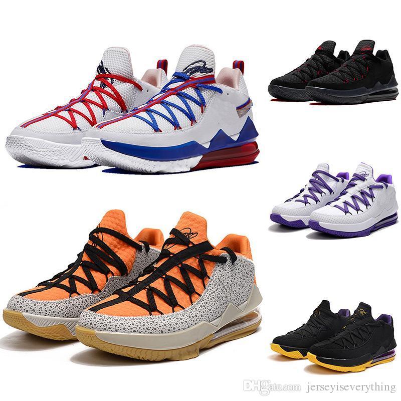 LeBrons 17 Shoes Low Tune Esquadrão roxo Safari Black White Black Men Basquete Formador de boa qualidade Low 17s Sports Mens sneakers tamanho 7-12